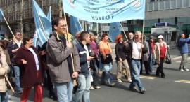 Uniós szakszervezeti tüntetés Ljubljanában