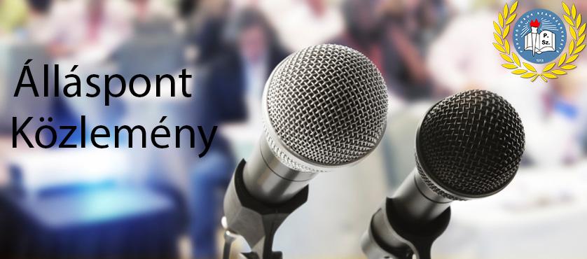 A PSZ közleménye az államosított közoktatási intézmények vezetõinek megbízásáról